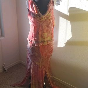 MIXIT Pink Two Piece Silk Skirt Set  Easter Summer